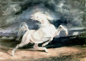Print Poster eugene delacroix horse frightened by the storm 1824