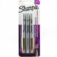 Sharpie Marker Metallic Fine Permanent Gold Silver Bronze Pack of 3