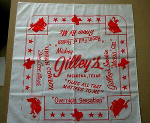 "VINTAGE MICKEY GILLEY'S NECK SCARF, 21"" x 21"", UNUSED"