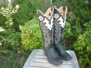 Womens 6 B Tony Lama Black & White Tall Buckaroo Square Toe RR2000L Cowboy Boots