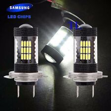 H7 Samsung Chip LED 57 SMD Super White 6000K Headlight 2x Light Bulb Low Beam