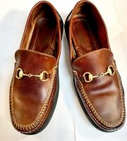 GUCCI Horsebit Loafers Classic Luxury Leather Tan EU 5.5 US 6.5 MADE IN ITALY