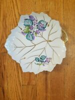 Vintage UCAGCO CHINA Hand Painted Leaf Shaped Plate Dish From JAPAN Violets