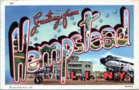 Greetings From Hemptstead Long Island NY Large Letter Linen Postcard Curt Teich