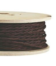 BROWN FABRIC CABLE - Twisted Lighting Cable Flex - Italian - Sold Per Metre