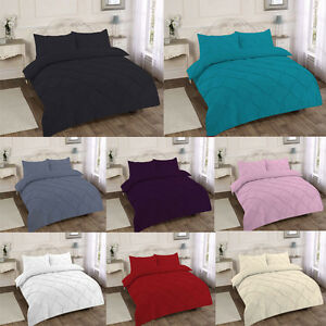 Luxury Pintuck DESIGN POLY COTTON DUVET COVER QUILT COVER WITH PILLOW CASE SET
