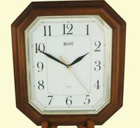Hour Town Wall Clock Wood Frame Glass Lens Gold Trim Octagonal Rectangle Quartz