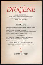 Diogène n° 1. Gallimard, novembre 1952. E. Benveniste, Karl Jaspers, Jean Piaget