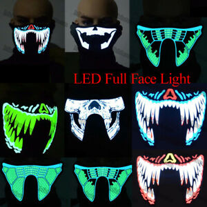 Adults Halloween Party Cosplay LED Full Face Light Up Rave DJ Dance Night COS UK