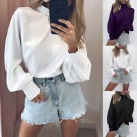 UK Women High Neck Tops Long Puff Sleeve Casual Loose Plain Ladies Blouse Shirt