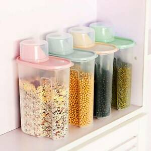 4 Pcs Airtight Cereal Containers Dispenser Food Storage Dry Food Kitchen 1.9L