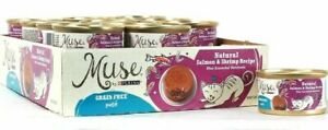 (12 Cans) Muse By Purina Natural Salmon & Shrimp Grain Free Pate 3 Oz BB 5/2021