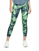 NWT Women's Under Armour HeatGear Capri Crop Print Leggings Green Size S