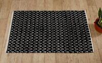 Noir et Blanc Grand Chindi Tapis Coton Handmade Chemin Porte 0.9X0.6m