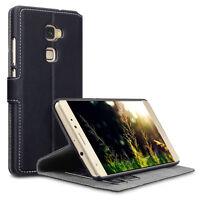 Huawei Mate S Luxury Retro Leather Low Profile Wallet Folio Book Case - Black