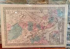 Vintage 1880 MAP - BOSTON, MASSACHUSETTS - Old Antique Original Atlas Map