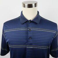 Greg Norman Tasso Elba Mens Polyester Play Dry SS Navy Striped Golf Polo Shirt M