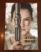 STAR WARS THE FORCE AWAKENS REY CINEMA PROMO CARD 21cm X 15cm
