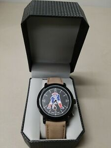 New England Patriots Game Time Mens Quartz Metal and Leather Watch NEW FREE SHIP