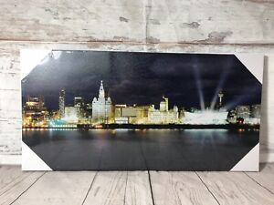 Liverpool City Water Front Canvas Picture Modern Skyline Ready To Hand Wall Art