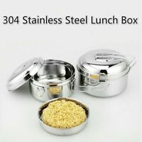 Round Stainless Steel Lunch Box Leak-Proof Food Container Kitchen Accessory Home