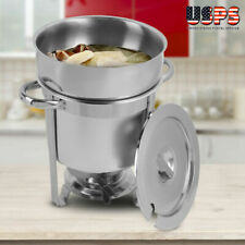 Deluxe 7 qt. Soup Chafer / Marmite Stainless Steel Round Chafing Dish Soup Pot