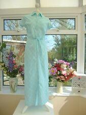 STUNNING! LAURA ASHLEY SKY BLUE LINEN & COTTON MAXI SHIRT PENCIL DRESS Sz 12