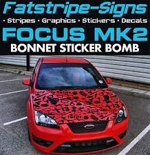 Ford Focus MK2 COCHE CALCOMANÍAS GRÁFICOS ADHESIVO bomba Bonnet Vinilo 1.8 2.0 2.5 ST RS