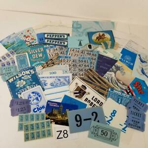 50 blue pieces vintage ephemera paper pack variety lot tickets stamps labels Z8