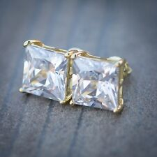 Large Yellow Gold Sterling Silver Princess Cut Solitaire Cz Simulate Earrings
