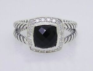 David Yurman Sterling Silver Black Onyx & Diamond Petite Albion Ring Size 8