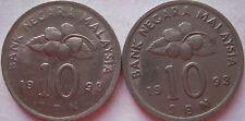 Malaysia 10 sen 1993 coin 2 pcs