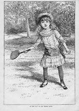 YOUNG GIRL, JUVENILE, ON HER WAY TO TENNIS COURT, RACKET, 1884 TENNIS FASHION