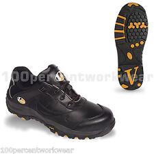 V12 Vtech seguridad VS600 SLAM Trabajo Zapatillas Zapatos Negro Cuero Puntera Suela UK