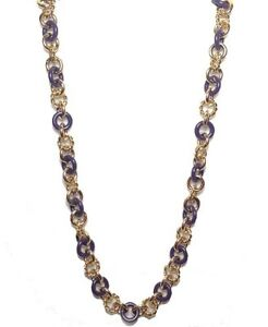 NWT Authentic Juicy Couture Enamel And Rope Chain Strand Necklace Gold & Purple