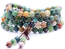 Agate Mala Bracelet 6mm 108 Green Beads Gemstone Prayer Buddhist Tibetan Rosary