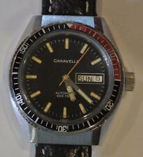 1981 Black CARAVELLE BULOVA P1 Steel 38 mm Diver's Watch. Automatic 17 Jewels