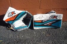 AARON DELL 2016-17 GAME-USED SIGNED ROOKIE BLOCKER and GLOVE SAN JOSE SHARKS