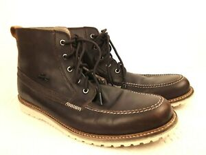 Lacoste Boots Marceau Brown Leather Top Stitched Ankle EUC Free Ship