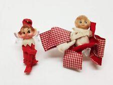 Vintage Christmas Tree Ornaments Decoration Elf Pixie Knee Hugger Doll 1950s Toy
