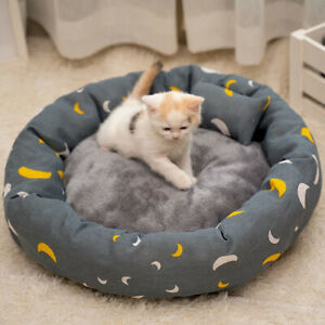 Round Cat Bed House Soft Flannel Washable Pet Supplies Cushion Animal Sleep Sofa