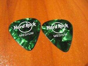 2 NEW Hard Rock Cafe HRC Logo Guitar Picks - Size Medium - Green Flakes
