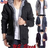Men Winter Thick Warm Fleece Fur Lined Hoodie Zip Up Coat Jacket Sweatshirt Tops