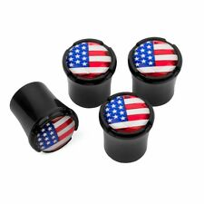 New listing Usa Flag Logo Black Tire Valve Stem Caps Made In Usa