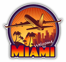 """Welcome To Miami Travel Label Car Bumper Sticker Decal 5"""" x 5"""""""