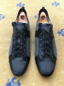 Hermes Mens Shoes Black Leather Canvas Trainers Sneakers UK 9 US 10 EU 43