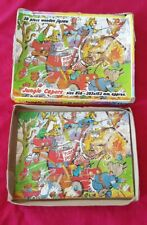 VINTAGE 1970s 20 PIECE WOODEN JIGSAW PUZZLE JUNGLE CAPERS BY CASTILE GAMES