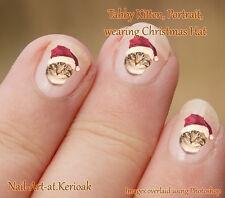 TABBY KITTEN faccia indossare il Natale, Babbo Natale Cappello 24 Cat Nail Art Adesivi Decalcomanie