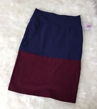Lularoe Cassie Textured Colorblock Blue & Maroon Pencil Skirt Size M