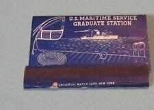 Unused United States US Maritime Service Graduate Station Matchbook Brooklyn NY